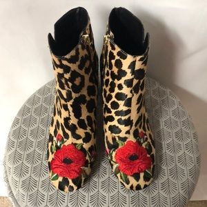 Kate Spade floral embroidered leopard hair booties